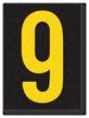 Engineer Grade Vinyl, 1.5 Inch Number, Yellow on Black 9