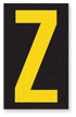 Engineer Grade Vinyl, 2.5 Inch Letter, Yellow on Black Z