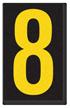 Engineer Grade Vinyl, 2.5 Inch Number, Yellow on Black 8