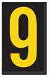 Engineer Grade Vinyl, 2.5 Inch Number, Yellow on Black 9
