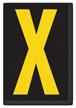Engineer Grade Vinyl, 3.75 inch Letter, Yellow on Black, X