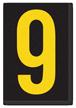 Engineer Grade Vinyl, 3.75 inch Number, Yellow on Black, 9