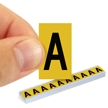 All Weather Mylar Letters 1 Inch Tall Black on Yellow