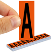 All Weather Mylar Letters 2 Inch Tall Black on Orange