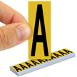 All Weather Mylar Letters 2 Inch Tall Black on Yellow