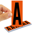 All Weather Mylar Letters 3 Inch Tall Black on Orange