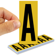 All Weather Mylar Letters 3 Inch Tall Black on Yellow