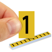 All Weather Mylar Numbers 1 Inch Tall Black on Yellow