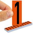 All Weather Mylar Numbers 2 Inch Tall Black on Orange