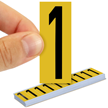 All Weather Mylar Numbers 2 Inch Tall Black on Yellow