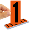 All Weather Mylar Numbers 3 Inch Tall Black on Orange