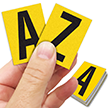 Reflective Vinyl Letters 1.5 Inch Tall Black on Yellow