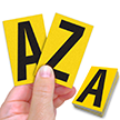 Reflective Vinyl Letters 2.5 Inch Tall Black on Yellow