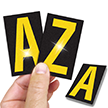 Reflective Vinyl Letters 2.5 Inch Tall Yellow on Black