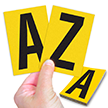 Reflective Vinyl Letters 3.75 Inch Tall Black on Yellow