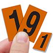 Reflective Vinyl Numbers 1 Inch Tall Black on Orange