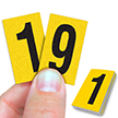 Reflective Vinyl Numbers 1 Inch Tall Black on Yellow