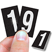 Reflective Vinyl Numbers 1 Inch Tall White on Black