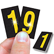Reflective Vinyl Numbers 1 Inch Tall Yellow on Black