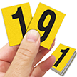 Reflective Vinyl Numbers 1.5 Inch Tall Black on Yellow