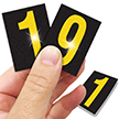 Reflective Vinyl Numbers 1.5 Inch Tall Yellow on Black