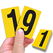 Reflective Vinyl Numbers 2.5 Inch Tall Black on Yellow