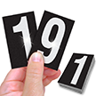 Reflective Vinyl Numbers 2.5 Inch Tall White on Black