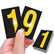 Reflective Vinyl Numbers 2.5 Inch Tall Yellow on Black