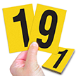 Reflective Vinyl Numbers 3.75 Inch Tall Black on Yellow