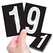 Reflective Vinyl Numbers 3.75 Inch Tall White on Black