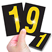 Reflective Vinyl Numbers 3.75 Inch Tall Yellow on Black
