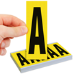 Vinyl Cloth Letters 4 Inch Tall Black On Yellow