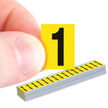 Vinyl Cloth Numbers 0.625 Inch Tall Black On Yellow