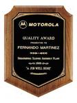 Custom Black Shield Walnut Wooden Award Plaque