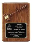 Custom Gavel Black Walnut Wooden Award Plaque