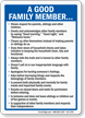 A Good Family Member Rules Sign