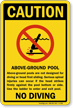 Aboveground Pool No Diving Sign