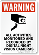 All Activities Monitored and Recorded Sign