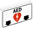 AED Sign with Down Arrows and Symbol