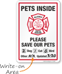 Alert Pets Inside Please Save Our Pets Sign