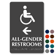 Handicap All Gender Braille Restrooms, Left Directional Sign