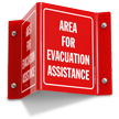 Area For Evacuation Assistance Projecting Sign