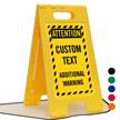 Attention Add Warning Text Custom Standing Floor Sign
