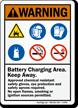 Battery Charging Area, Keep Away Warning Sign