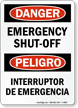 Bilingual Emergency Shut-Off Sign