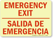 Bilingual Emergency Exit Glow-in-the-Dark Sign