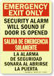 Bilingual Emergency Exit Only Security Alarm Sign