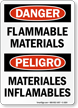 Bilingual OSHA Danger / Peligro Flammable Materials Sign