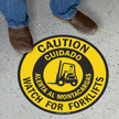 Bilingual Caution Forklift Traffic Slipsafe™ Floor Sign