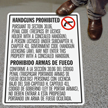 Bilingual No Concealed Carry for Texas Floor Sign